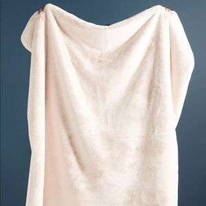 Anthropologie Sophie Faux Throw in Blush